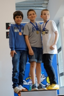 Podio Individual en Categoría Alevín de 2015: Pablo Zaporta (3), Ivan Muñoz (1) y Josu Manterola (2)