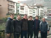 Jon Irigaray, Daniel Garmendia, Patxi Moreno, Jokin Etxaniz, Hodei Herrera y Silvestre Moreiro jugadores de Hondarribia Marlaxka