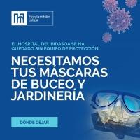 Llamamiento del Hospital Comarcal para recibir gafas de buceo y jardinería. y recuerda #YoMeQuedoEnCasa.