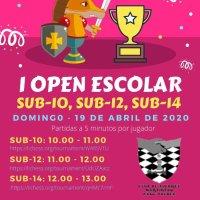 """Os informamos del """"1er Open Escolar"""" torneo organizado por Martintxo Xake Kluba con colaboración de nuestro club que se jugará el domingo que viene. ¡Ánimate ya te puedes apuntar! Y recuerda #YoMeQuedoEnCasa."""